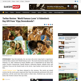 ArchiveBay.com - english.sakshi.com/tollywood/2020/02/14/twitter-review-world-famous-lover-a-valentines-day-gift-from-vijay-deverakonda - Twitter Review - 'World Famous Lover' A Valentine's Day Gift From 'Vijay Deverakonda'!