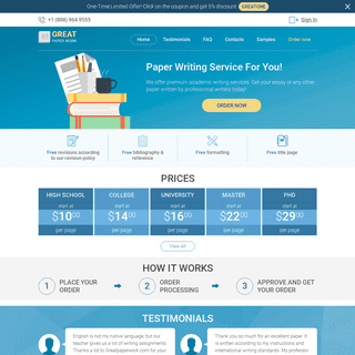Paper Writing Service- Fast & Plagiarism Free - GreatPaperWork.com