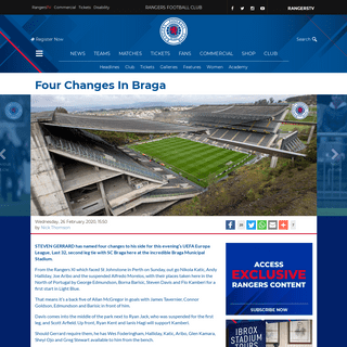 Four Changes In Braga - Rangers Football Club, Official Website
