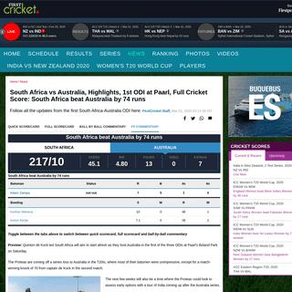 South Africa vs Australia, Highlights, 1st ODI at Paarl, Full Cricket Score- South Africa beat Australia by 74 runs- Firstcricke