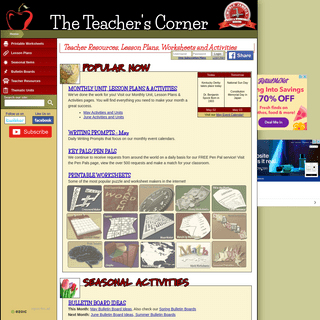 The Teacher's Corner - Lesson Plans, Worksheets and Activities