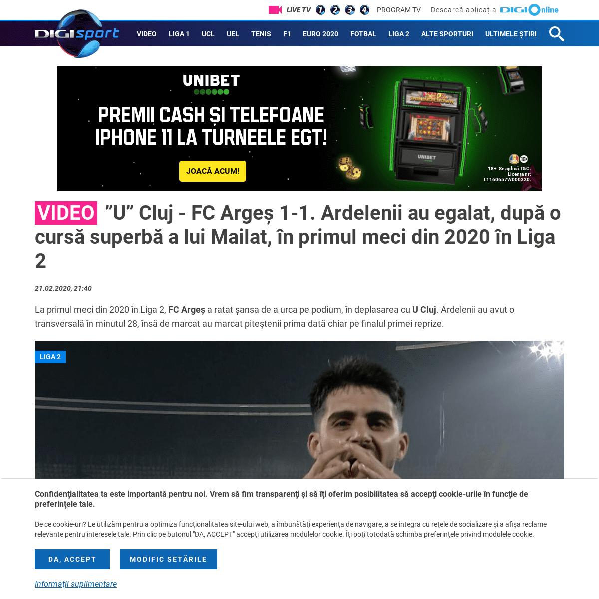 """ArchiveBay.com - www.digisport.ro/fotbal/liga-2/live-video-u-cluj-fc-arges-2000-digi-sport-1-primul-meci-din-liga-2-in-2020-ambele-echipe-s-au-intarit-in-iarna-799930 - Video - """"U"""" Cluj - FC Argeș 1-1. Ardelenii au egalat, după o cursă superbă a lui Mailat, în primul meci din 2020 în Li"""