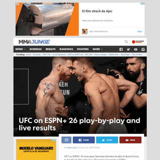 UFC on ESPN+ 26 play-by-play and live results