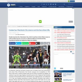 Carabao Cup- Manchester City conserve son titre face à Aston Villa