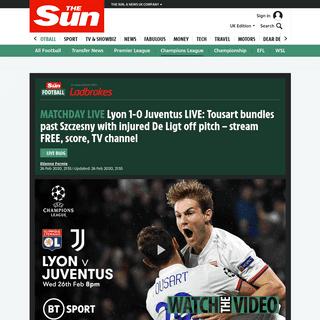 Lyon 1-0 Juventus LIVE- Tousart bundles past Szczesny with injured De Ligt off pitch – stream FREE, score, TV channel – The