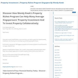 Property Investment - Property Riches Program Singapore By Wendy Kwek