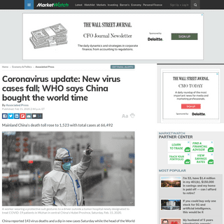 Coronavirus update- New virus cases fall; WHO says China bought the world time - MarketWatch