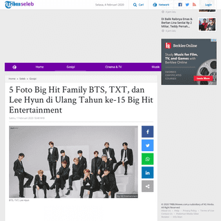 5 Foto Big Hit Family BTS, TXT, dan Lee Hyun di Ulang Tahun ke-15 Big Hit Entertainment - Tribunnews.com