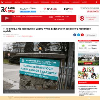 ArchiveBay.com - www.radio.kielce.pl/pl/post-100719 - To grypa, a nie koronawirus. Znamy wyniki badań dwóch pacjentów z kieleckiego szpitala - Radio Kielce