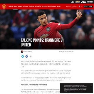 Talking Points from Tranmere v Man Utd 26 January 2020 - Manchester United