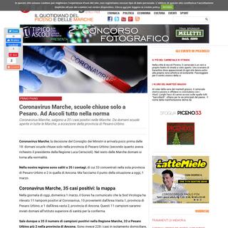 ArchiveBay.com - www.primapaginaonline.it/2020/03/01/coronavirus-marche/ - Coronavirus Marche, scuole chiuse solo a Pesaro. Ad Ascoli tutto nella norma • Prima Pagina Online