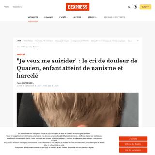 -Je veux me suicider- - le cri de douleur de Quaden, enfant atteint de nanisme et harcelé - L'Express