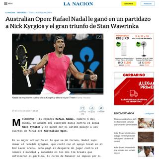 Australian Open- Rafael Nadal le ganó en un partidazo a Nick Kyrgios y el gran triunfo de Stan Wawrinka - LA NACION