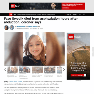 Faye Swetlik died from asphyxiation hours after abduction, coroner says - CNN
