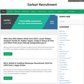 Sarkari Recruitment - Govt Jobs - Sarkari Naukri