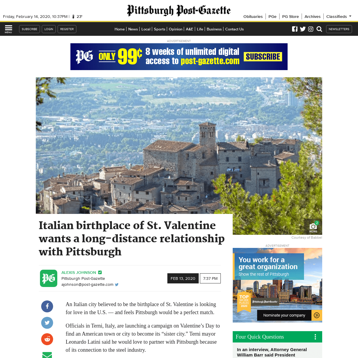Italian birthplace of St. Valentine wants a long-distance relationship with Pittsburgh - Pittsburgh Post-Gazette