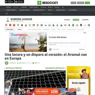 Una locura y un disparo al corazón- el Arsenal cae en Europa - BeSoccer