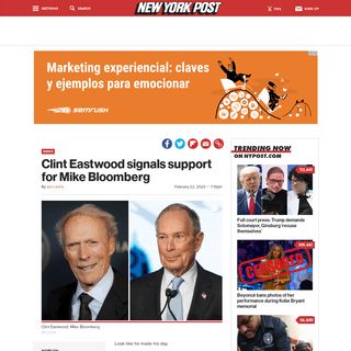ArchiveBay.com - nypost.com/2020/02/22/clint-eastwood-signals-support-for-mike-bloomberg/ - Clint Eastwood signals support for Mike Bloomberg