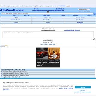 AtoZmath.com - Homework help (with all solution steps)