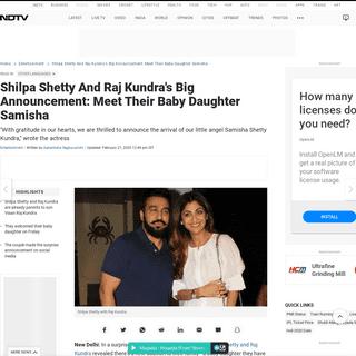 ArchiveBay.com - www.ndtv.com/entertainment/shilpa-shetty-and-raj-kundras-big-announcement-meet-their-baby-daughter-samisha-2183598 - Shilpa Shetty And Raj Kundra's Big Announcement- Meet Their Baby Daughter Samisha