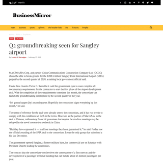 ArchiveBay.com - businessmirror.com.ph/2020/02/17/q2-groundbreaking-seen-for-sangley-airport/ - Q2 groundbreaking seen for Sangley airport