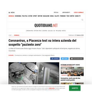 ArchiveBay.com - www.quotidiano.net/cronaca/coronavirus-piacenza-mae-1.5040219 - Coronavirus, a Piacenza test su intera azienda del sospetto -paziente zero- - Cronaca - quotidiano.net
