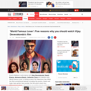 World Famous Lover Review- Five reasons why you should watch Vijay Deverakonda's film
