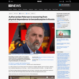 Author Jordan Peterson is recovering from physical dependence to benzodiazepine in Russia - ABC News (Australian Broadcasting Co