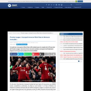 Premier League- Liverpool renverse West Ham et demeure invincible!