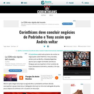 Corinthians deve concluir negócios de Pedrinho e Yony assim que Andrés voltar - Gazeta Esportiva