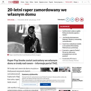 20-letni raper Pop Smoke zamordowany we własnym domu w trakcie napadu wieszwiecej - tvp.info