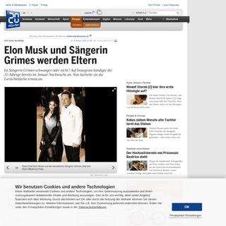 20 Minuten - Elon Musk und Sängerin Grimes werden Eltern - International