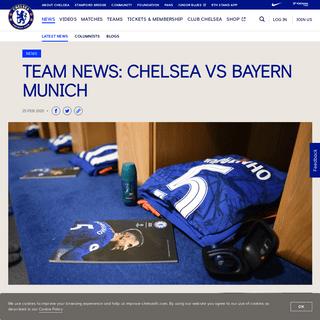 Team news- Chelsea vs Bayern Munich - Official Site - Chelsea Football Club