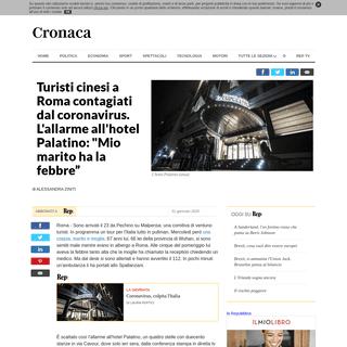 """ArchiveBay.com - www.repubblica.it/cronaca/2020/01/31/news/coronavirus_italia_turisti_cinesi-247205434/ - Turisti cinesi a Roma contagiati dal coronavirus. L'allarme all'hotel Palatino- -Mio marito ha la febbre"""" - la Repubblica"""