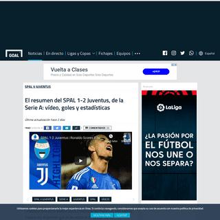 El resumen del SPAL 1-2 Juventus, de la Serie A- vídeo, goles y estadísticas - Goal.com