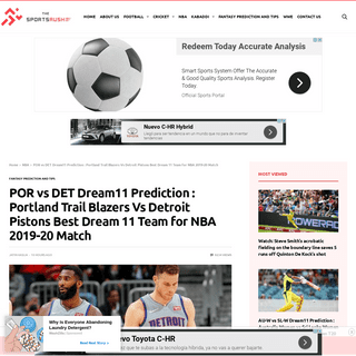 ArchiveBay.com - thesportsrush.com/por-vs-det-dream11-prediction-portland-trail-blazers-vs-detroit-pistons-best-dream-11-team-for-nba-2019-20-match/ - POR vs DET Dream11 Prediction - Portland Trail Blazers Vs Detroit Pistons Best Dream 11 Team for NBA 2019-20 Match - The SportsR