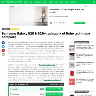 Samsung Galaxy S20 & S20+ - avis, prix et fiche technique complète