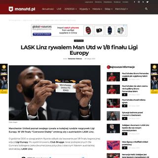 LASK Linz rywalem Man Utd w 1-8 finału Ligi Europy - ManUtd.pl - Serwis kibiców klubu Manchester United