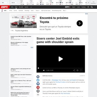 ArchiveBay.com - www.espn.com/nba/story/_/id/28789512/sixers-center-joel-embiid-exits-game-shoulder-sprain - Sixers center Joel Embiid exits game with shoulder sprain