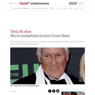 Murió atropellado el actor Orson Bean - Clarín