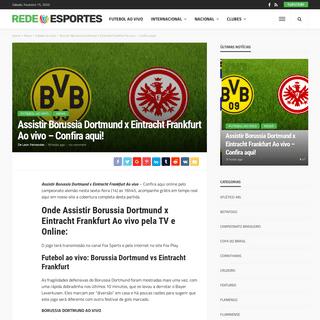 Assistir Borussia Dortmund x Eintracht Frankfurt Ao vivo - Confira aqui! - Rede Esportes