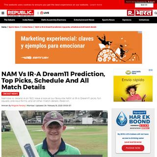 NAM vs IR-A Dream11 prediction, top picks, schedule and all match details - Republic World