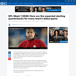 XFL Week 1 2020- Here are the expected starting quarterbacks for every team's debut game - CBSSports.com