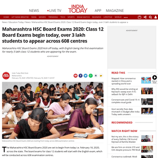Maharashtra HSC Board Exams 2020- Class 12 Board Exams begin today, over 3 lakh students to appear across 608 centres - Educatio
