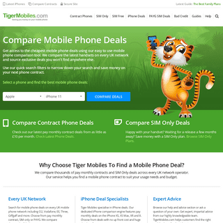 Compare The Best Mobile Phone Deals and Save £ at TigerMobiles.com