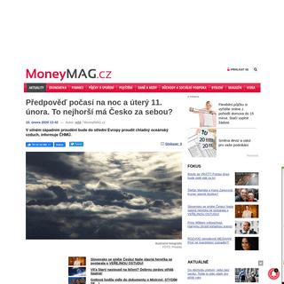 Předpověď počasí na noc a úterý 11. února. To nejhorší má Česko za sebou- - MoneyMAG.cz