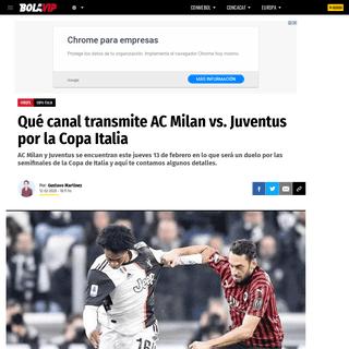 Qué canal transmite AC Milan vs. Juventus por la Copa Italia - Bolavip