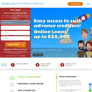 Payday Loans or Installment Loans Online US - Apply for quick cash advance - up to $35,000