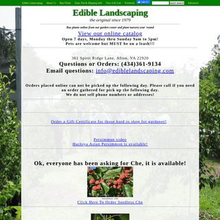 Edible Landscaping Plant Sale- Buy plants online from our garden center and plant nursery