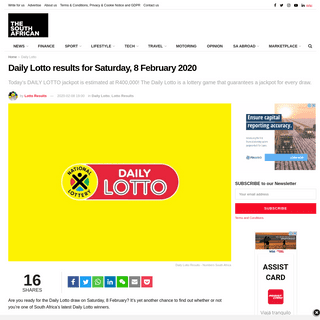 Daily Lotto results for Saturday, 8 February 2020